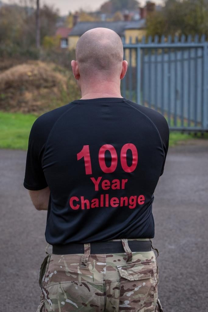Soldiers of The Royal Monmouthshire Royal Engineers (Militia) take part in the 100 Year Challenge in aid of ABF The Soldiers' Charity