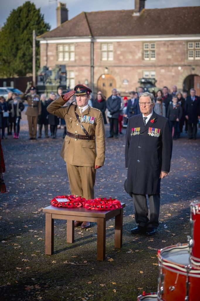 The Commanding Officer and Hon Colonel of The Royal Monmouthshire Royal Engineers (Militia) pay their respects to the fallen on the Centenary Remembrance Parade in Monmouth, Sunday 11th November 2018.