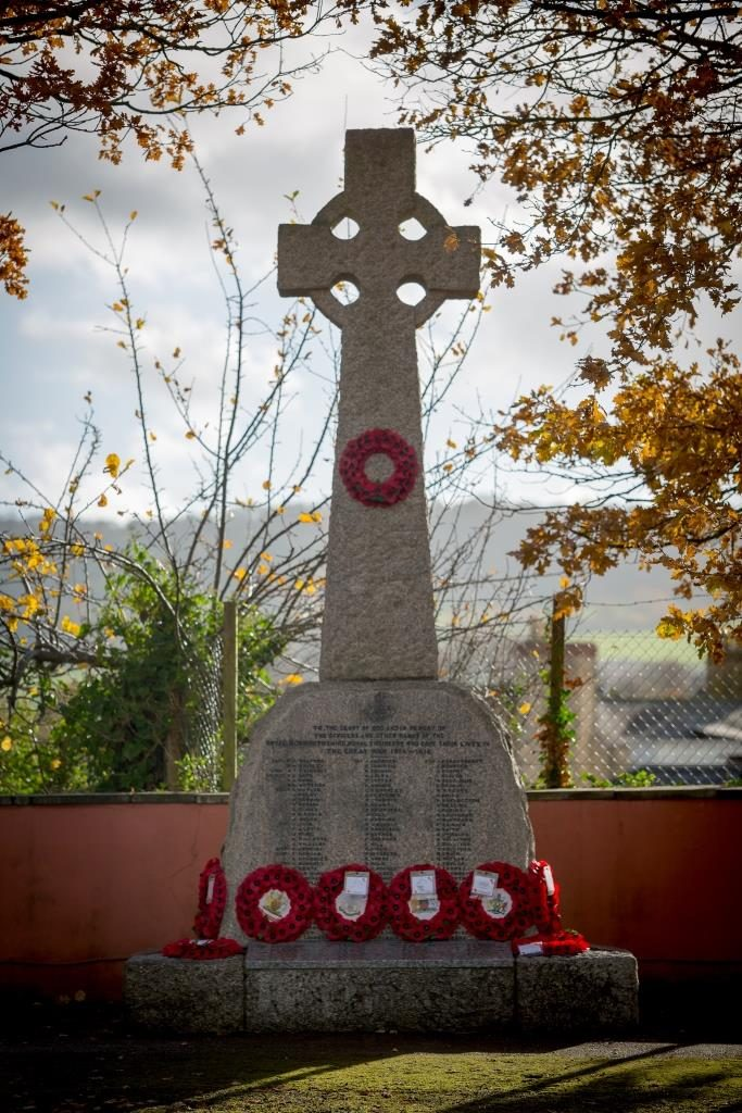 The War Memorial at The Royal Monmouthshire Royal Engineers (Militia) Regimental Headquarters in Monmouth on the Centenary Remembrance Sunday, 11th November 2018.